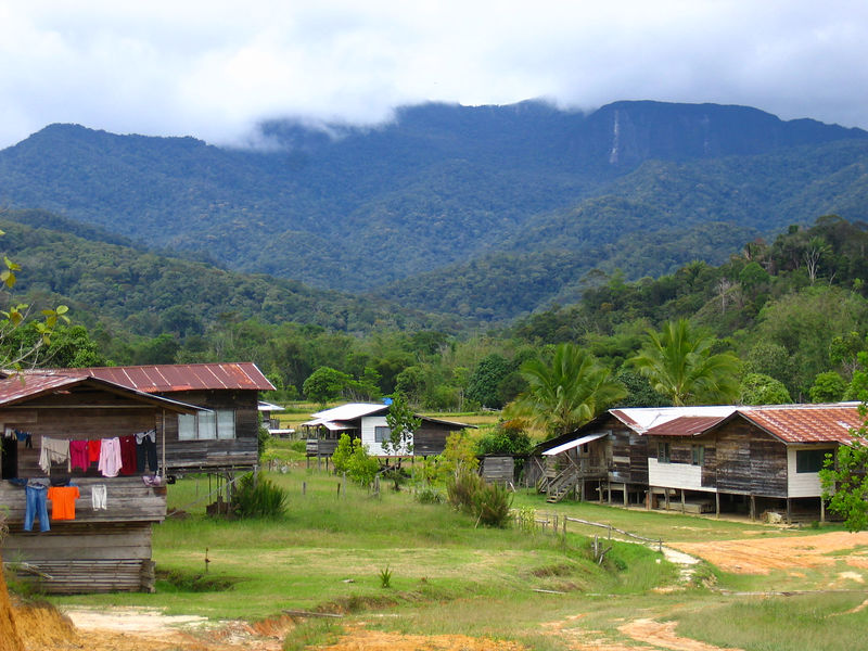 kelabit longhouse and other homes in a village outside bario.  only accessible on foot.