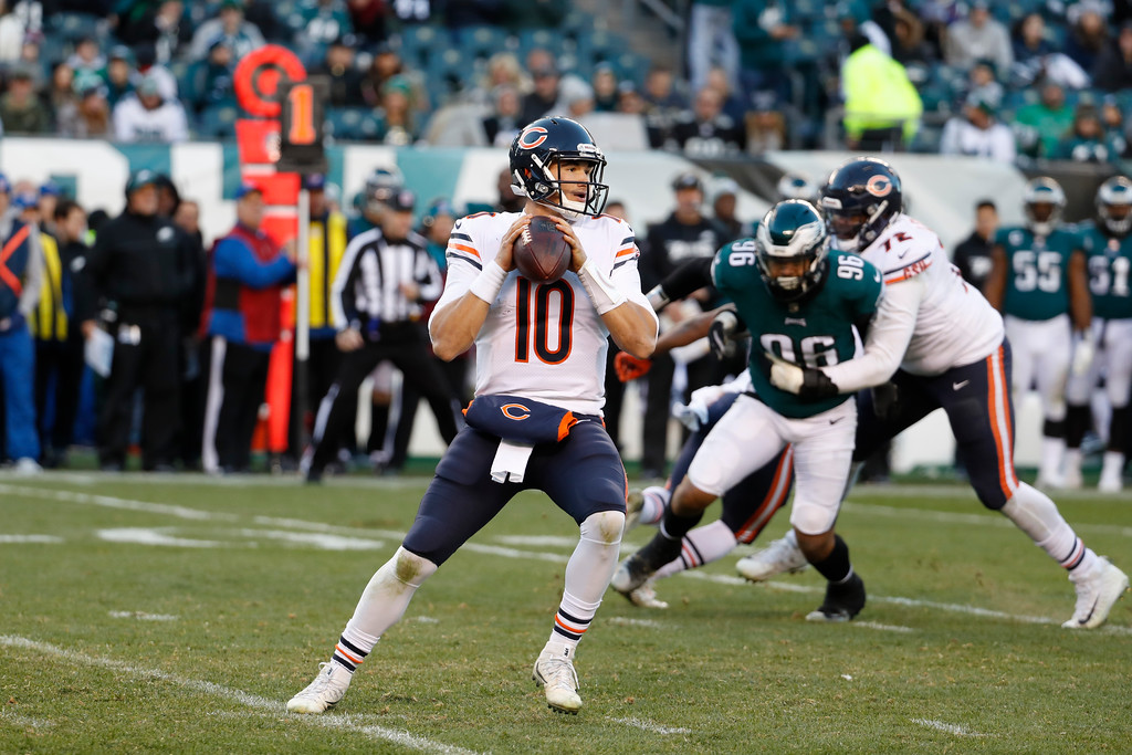 . Chicago Bears\' Mitchell Trubisky in action during the second half of an NFL football game against the Philadelphia Eagles, Sunday, Nov. 26, 2017, in Philadelphia. (AP Photo/Chris Szagola)