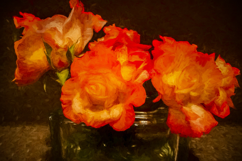 November 25 - Roses from the garden in a vase on the kitchen counter.jpg