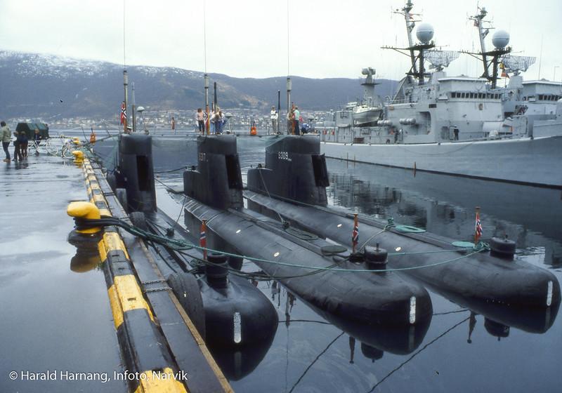 Tre ubåter ved pir 2.