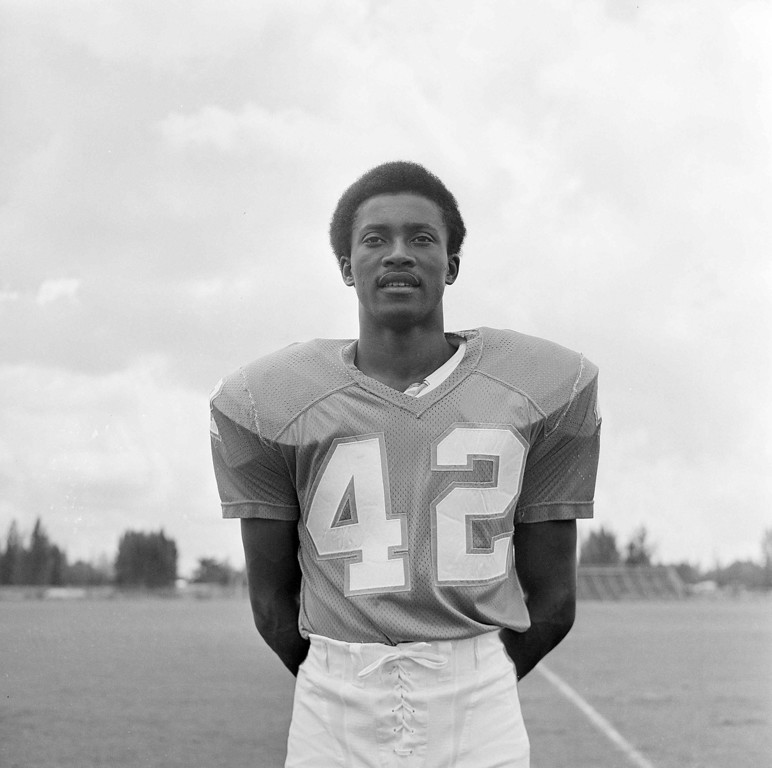 . Paul Warfield, wide receiver for the Miami Dolphins on Aug. 9, 1972, location unknown. (AP Photo)