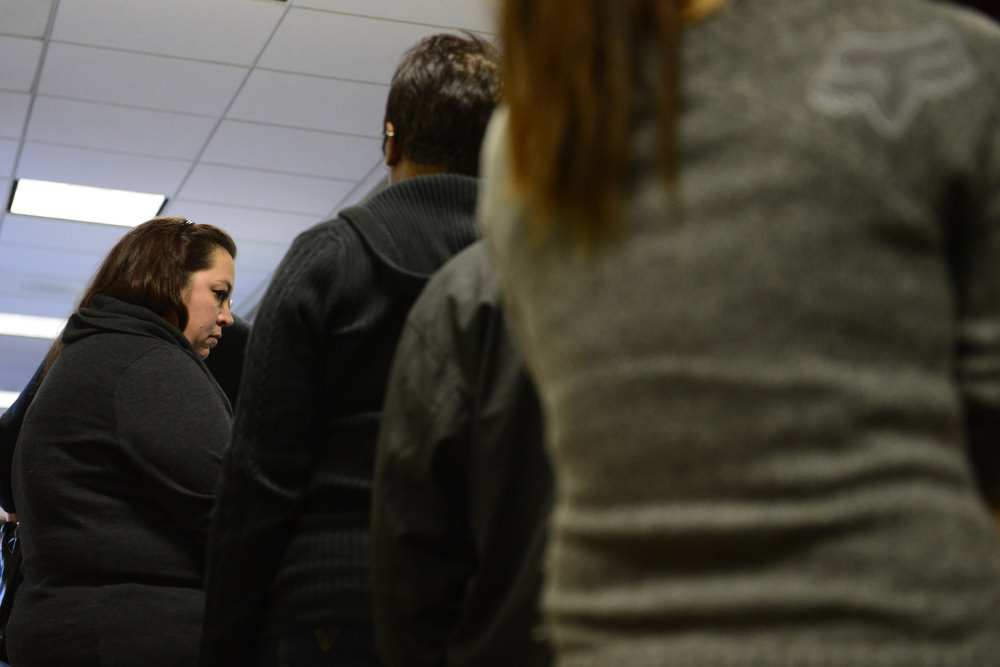 . People stand in a security line outside the courtroom for during a hearing for James Holmes, the accused gunman in the Aurora theater shooting, at the Arapahoe County Justice Center on Monday, January 7, 2013. AAron Ontiveroz/The Denver Post