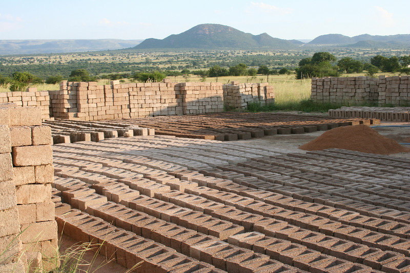 bricks made on the YWAV site for building at the site.  dennilton, south africa