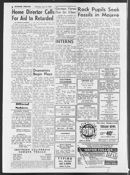 Summer Trojan, Vol. 12, No. 8, July 19, 1962