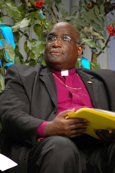 Bishop Gregory Palmer (President, Council of Bishops, United Methodist Church) smiles after the reference to move the adoption of the Full Communion agreement to 2011 was defeated.