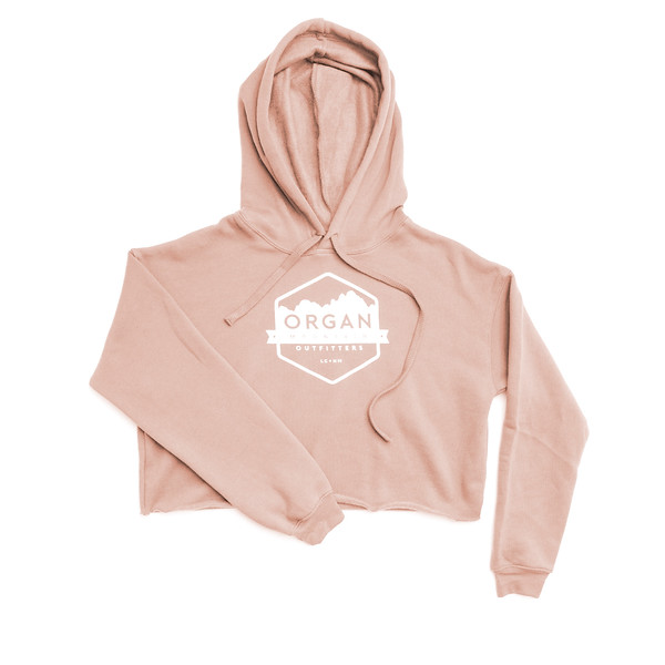 Organ Mountain Outfitters - Outdoor Apparel - Womens - Classic Cropped Fleece Hoodie - Peach.jpg