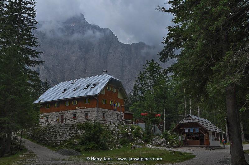 Aljazev dom (1015m) at the base of the Triglav