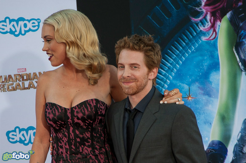HOLLYWOOD, CA - JULY 21: Actors Clare Grant and Seth Green attend Marvel's 'Guardians Of The Galaxy' Los Angeles Premiere at the Dolby Theatre on Monday July 21, 2014 in Hollywood, California. (Photo by Tom Sorensen/Moovieboy Pictures)