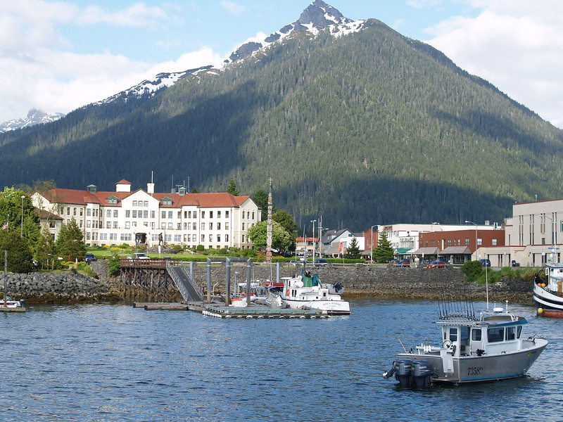 A look at Totem Square, the Veteran's Home and downtown from the channel (2007).