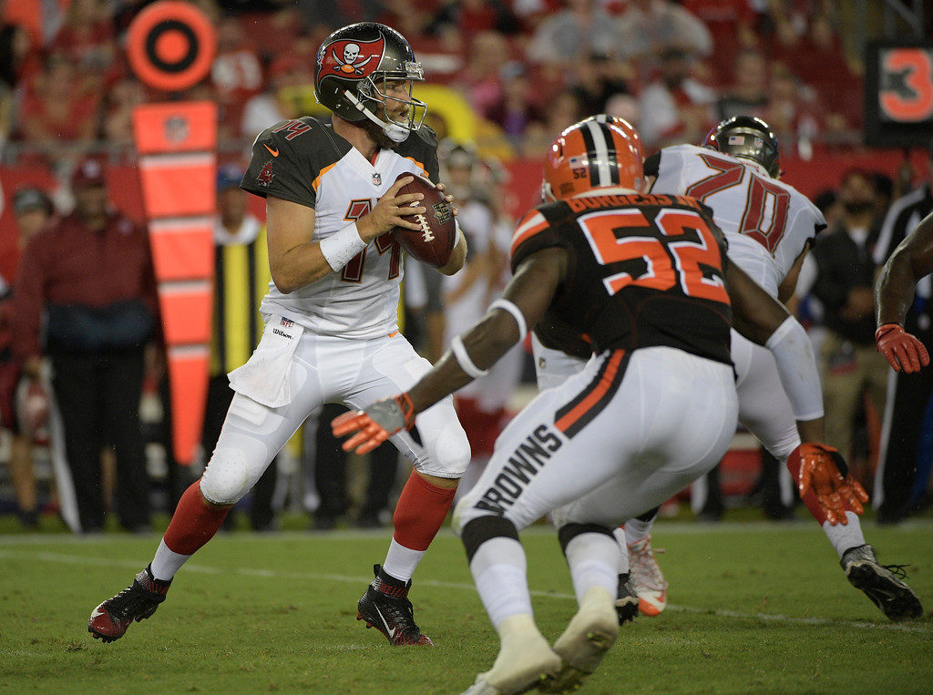 . Tampa Bay Buccaneers quarterback Ryan Fitzpatrick (14) looks to pass against the Cleveland Browns during the fourth quarter of an NFL preseason football game Saturday, Aug. 26, 2017, in Tampa, Fla. (AP Photo/Phelan Ebenhack)