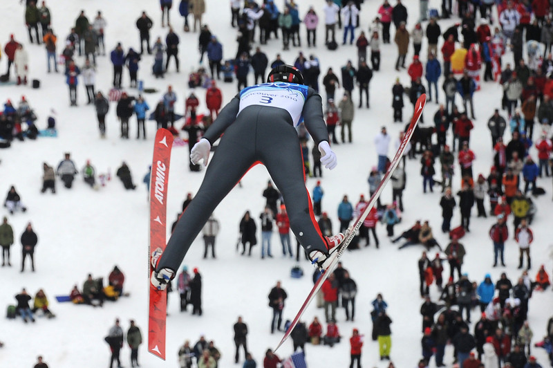 . The Czech Republic\'s Ales Vodsedalek competes in the Nordic Combined men\'s Ski Jumping Individual LH at Whistler Olympic Park during the Vancouver Winter Olympics on February 25, 2010. (ALBERTO PIZZOLI/AFP/Getty Images)
