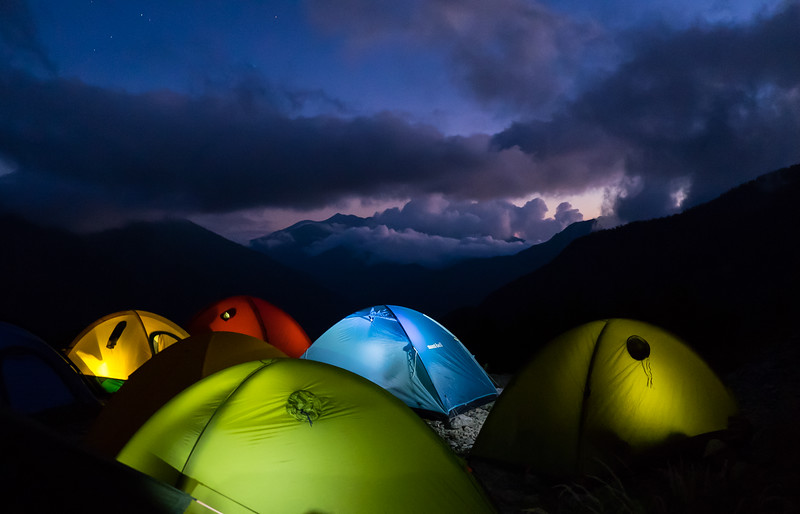 Last night camp on our way down the mountain in Chubu Sangaku National Park in Japan.