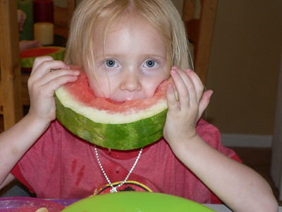 07 31 Abbie eating watermelon