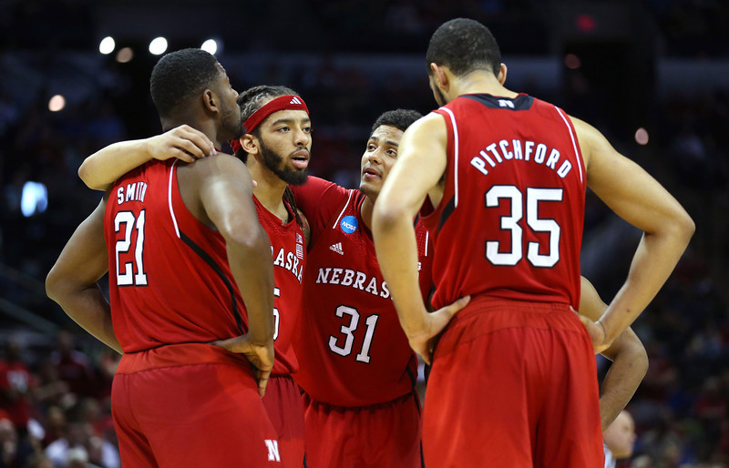 . The Nebraska Cornhuskers huddle after a play in the second half against the Baylor Bears during the second round of the 2014 NCAA Men\'s Basketball Tournament at AT&T Center on March 21, 2014 in San Antonio, Texas.  (Photo by Ronald Martinez/Getty Images)