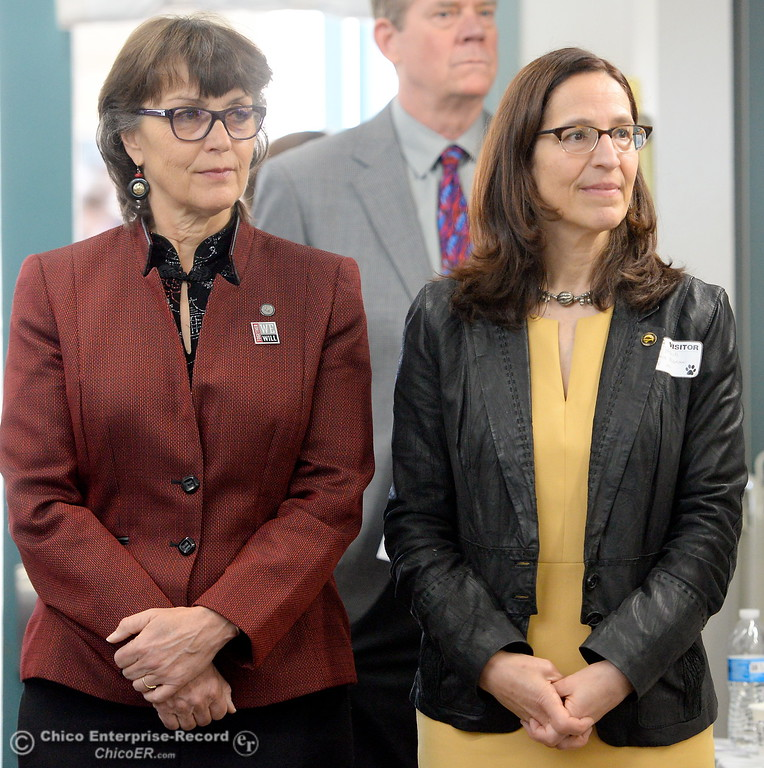 . CSUC President Gayle Hutchinson, left and Butte College President Samia Yaqub stand side by side as Butte County Educational leaders gather at Little Chico Creek Elementary School in Chico, Calif. to sign the Butte County Promise Thursday Feb. 1, 2018. The Promise is to all students in Butte County for an opportunity at a college education. (Bill Husa -- Enterprise-Record)