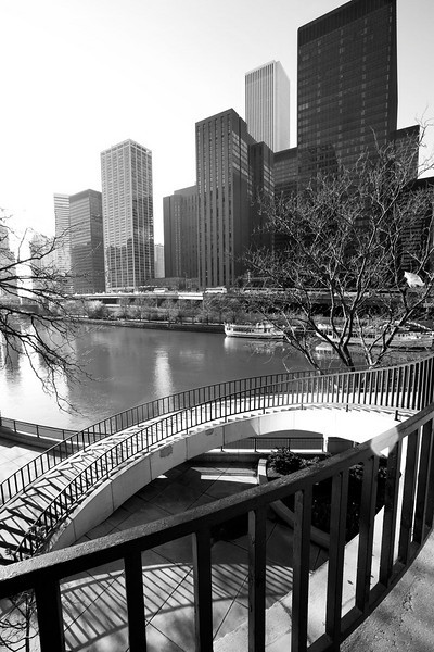 Chicago river scenic with stairs