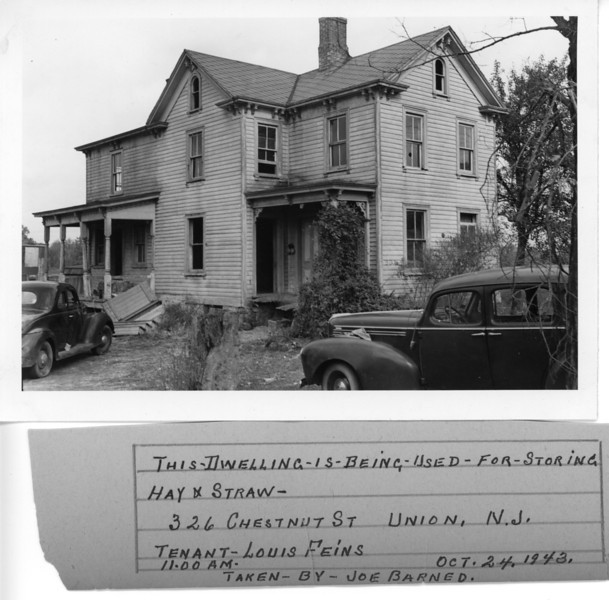 This photo taken in 1943 was found in an old fire inspector's file. The house was located on what is now West Chestnut St. and was being rented by Louis Feins.