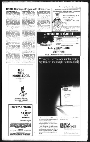 Daily Trojan, Vol. 111, No. 67, April 26, 1990