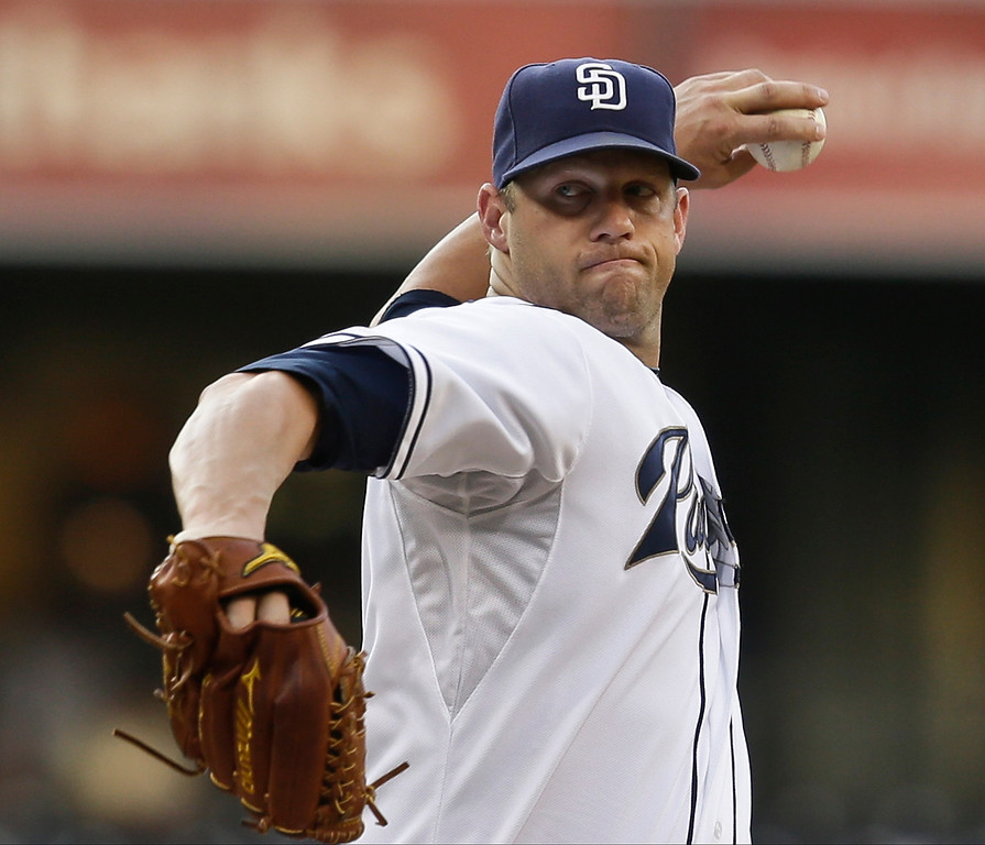 . San Diego Padres starting pitcher Eric Stults works the first inning against the Colorado Rockies in a baseball game in San Diego, Tuesday, July 9, 2013. (AP Photo/Lenny Ignelzi)
