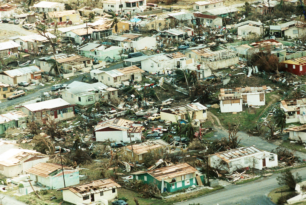 . Wreckage and devastated homes of the Ocean Park Section of San Juan,  Puerto Rico September 18, 1989, from the hurricane Hugo that travelled along the US coast and the islands of the Atlantic. (AP-Photo/- 09/18/1989 -)