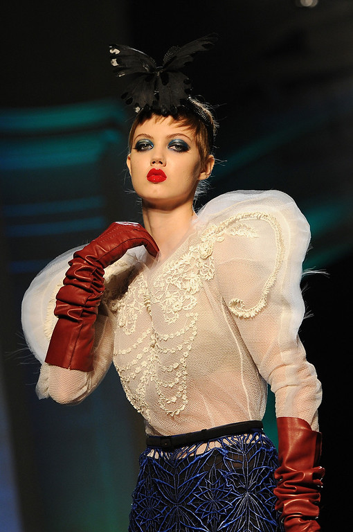 . Model Lindsey Wixson walks the runway during Jean Paul Gaultier show as part of Paris Fashion Week Haute Couture Spring/Summer 2014 on January 22, 2014 in Paris, France.  (Photo by Pascal Le Segretain/Getty Images)