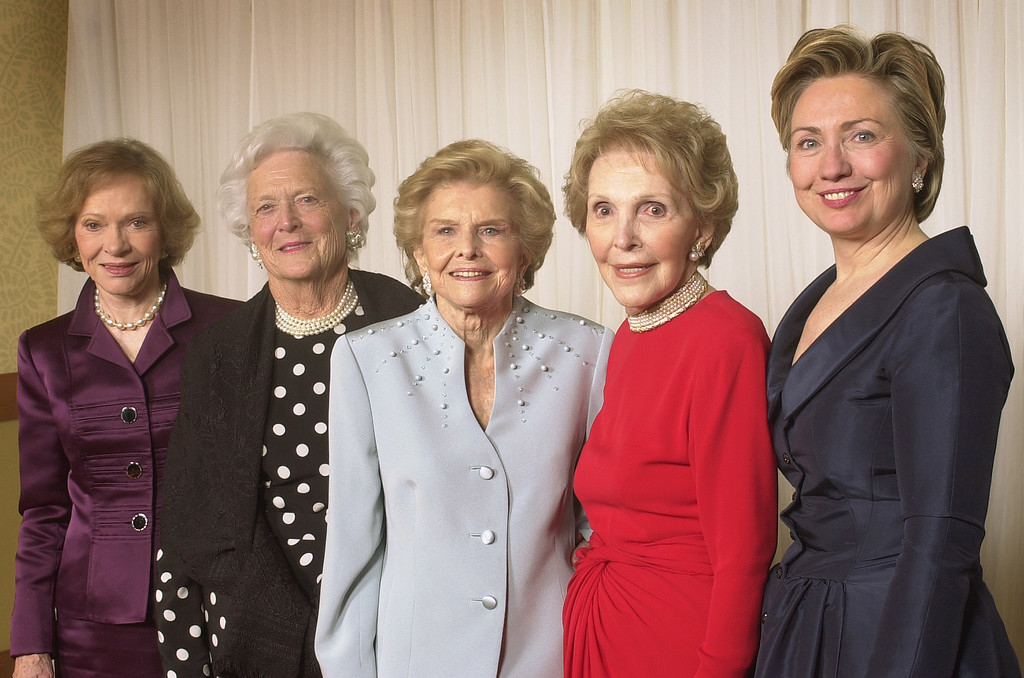 . Five former first ladies gather for a group photo at a gala 20th anniversary fundraising event saluting Betty Ford and the Betty Ford Center Friday, Jan. 17, 2003, in Indian Wells, Calif.  From left are Rosalynn Carter, Barbara Bush, Betty Ford, Nancy Reagan and Sen. Hillary Rodham Clinton.   President and Mrs. George W.  Bush sent a videotaped tribute.  Some 600 guests raised $1.6 million for financial assistance for patients who cannot afford to pay for treatment.  (AP Photo/Reed Saxon)