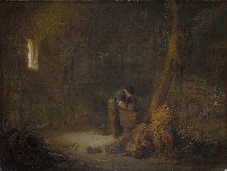 The Interior of a Barn with Two Peasants