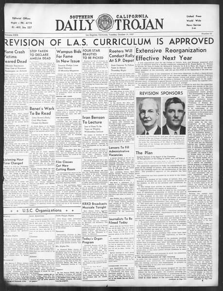 Daily Trojan, Vol. 29, No. 23, October 19, 1937