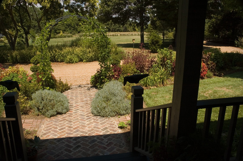 View out the front walk.  I love our 'watch crows' that Stephen made from a pattern I found.