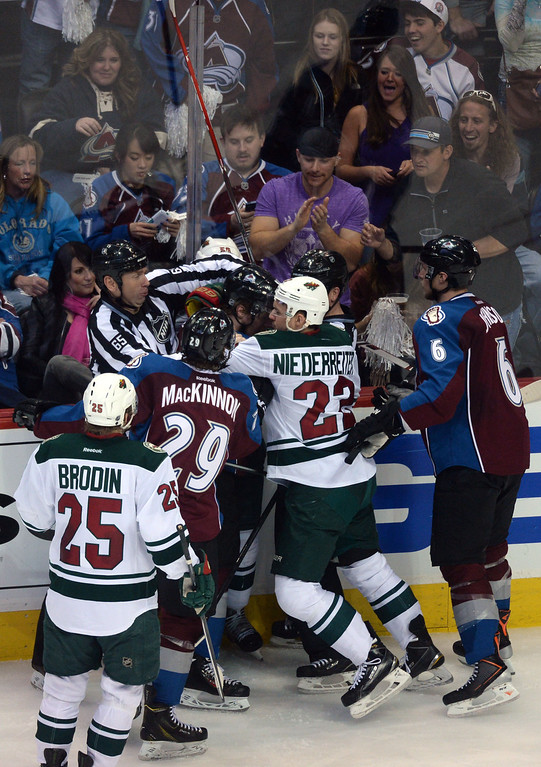 . DENVER, CO - APRIL 26: The Colorado Avalanche and the Minnesota Wild mix it up during the third period. The Colorado Avalanche hosted the Minnesota Wild during game five of the first round of the NHL Stanley Cup Playoffs at the Pepsi Center on Saturday, April 26, 2014. (Photo by Karl Gehring/The Denver Post)