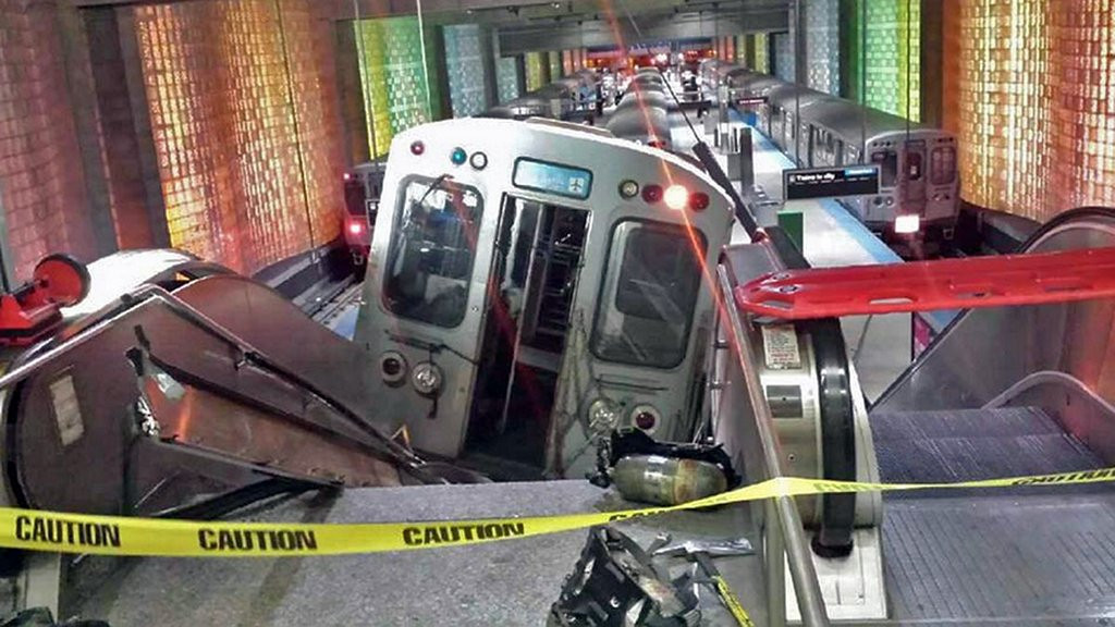 """. <p>10. (tie) CHICAGO <p>On the bright side: If anyone had been killed by runaway train, they�d still be eligible to vote for 50 years. (2) <p><b><a href=\'http://www.twincities.com/breakingnews/ci_25414338/miracle-no-deaths-chicago-airport-train-crash\' target=\""""_blank\""""> HUH?</a></b> <p>   (AP Photo/NBC Chicago, Kenneth Webster)"""