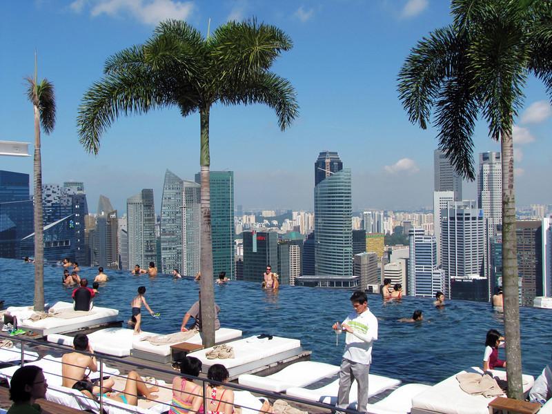 Singapore skyline and infinity pool from SkyPark