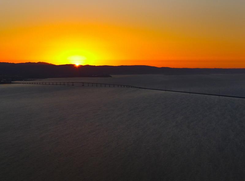 The San Mateo Bridge and San Francisco Bay at sunset.