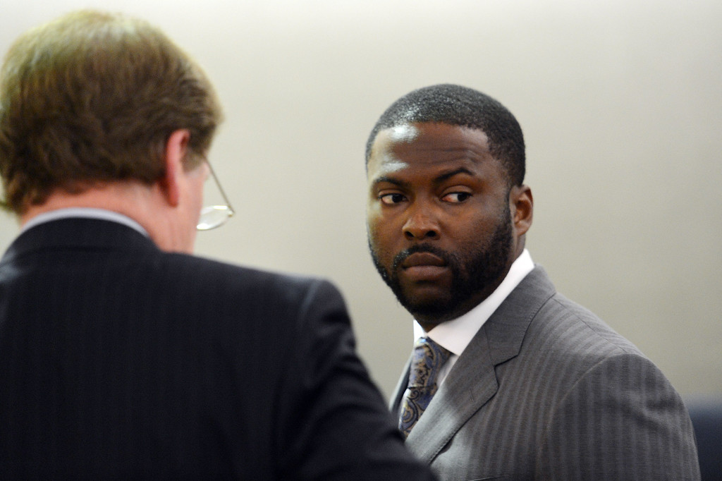 . Former Dodger Milton Bradley in Van Nuys Superior Court Tuesday, July 2, 2013. Bradley was in court for sentencing on his convictions on 9 misdemeanor counts steaming from incidents involving his estranged wife. (Hans Gutknecht/Los Angeles Daily News)