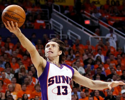 . Phoenix Suns guard Steve Nash shoots against the Los Angeles Lakers during the first half of Game 6 of the NBA basketball Western Conference finals Saturday, May 29, 2010, in Phoenix. (AP Photo/Matt York)