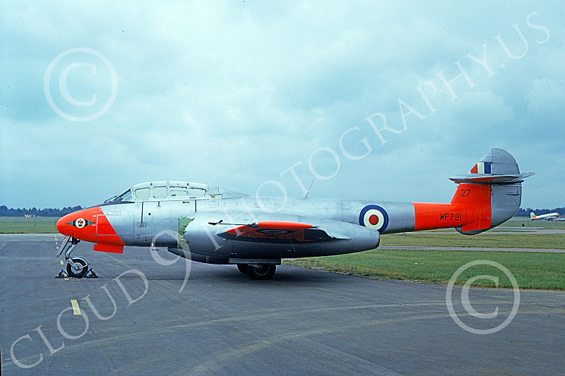 Gloster Meteor 00007 A static colorful dayglo marked Gloster Meteo British RAF WF791 military airplane picture by Duane A Kasulka.JPG