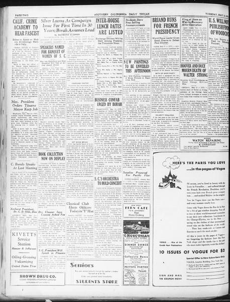 Daily Trojan, Vol. 22, No. 141, May 12, 1931