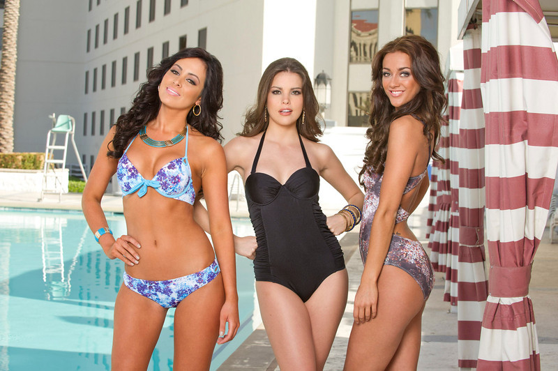 . (L-R)Miss Universe 2012 contestants Miss Costa Rica Nazareth Cascante, Miss Uruguay Camila Vezzoso and Miss Britain Holly Hale pose for photos in their swimwear at Planet Hollywood Resort and Casino, in Las Vegas, Nevada December 3, 2012. The Miss Universe 2012 competition will be held on December 19. REUTERS/Darren Decker/Miss Universe Organization L.P/Handout