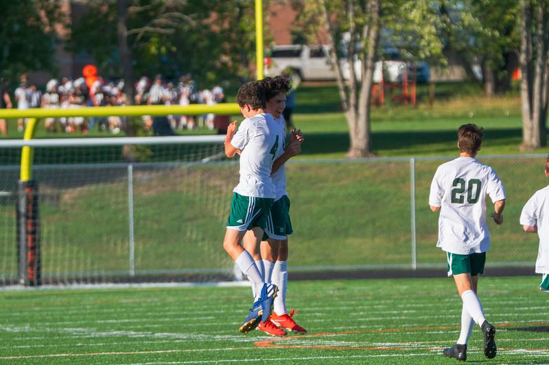 Holy Family Varsity Soccer vs. Delano, 9/19/19: Charlie Ficek '22 (4) & Sebastian Bojorquez-Rojas '21 (24)