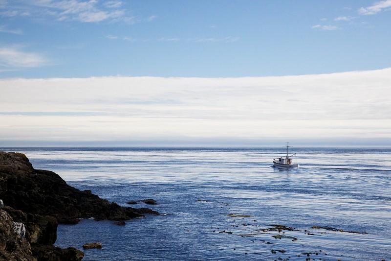 Small trawler in Puget Sound. Lime Kiln State Park, San Juan Island, Washington.