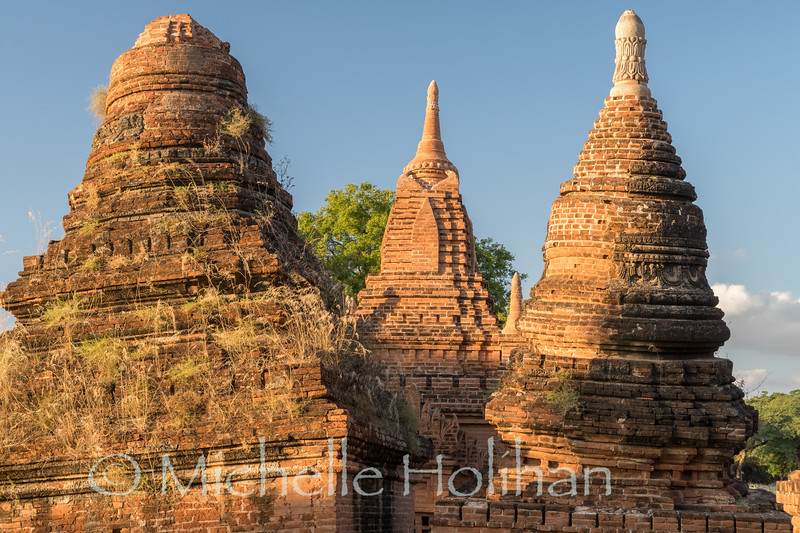 The crooked towers of the Earthquake Pagodas in Bagan, Myanmar