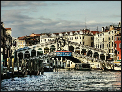 Venice Canal Grande end Rialto Bridge