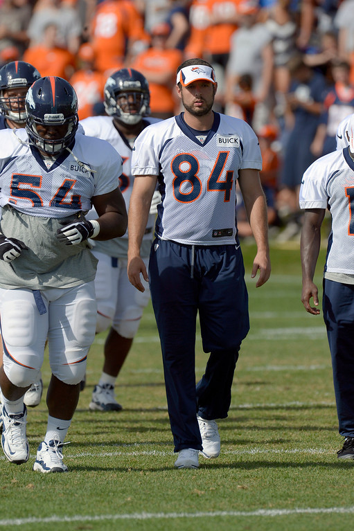 . Denver Broncos TE Jacob Tamme (84) sat out practice during training camp August 6, 2013 at Dove Valley. (Photo By John Leyba/The Denver Post)