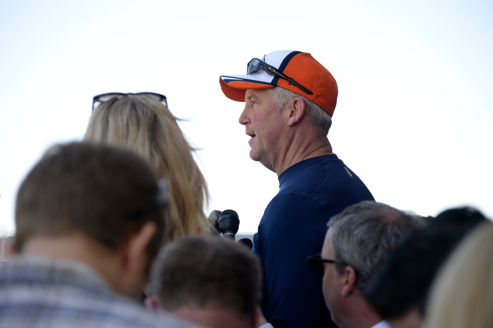 . Denver Broncos head coach John Fox addresses the media after practice May 28, 2014 at Dove Valley. (Photo by John Leyba/The Denver Post)