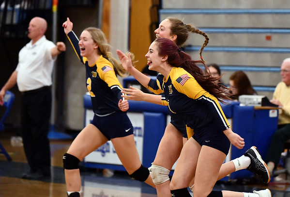 11/16/2019 Mike Orazzi | StaffrWoodstock Academy celebrates during the 2019 State Girls Volleyball Tournament Class L Quarterfinals with Bristol Eastern in Bristol Saturday. r
