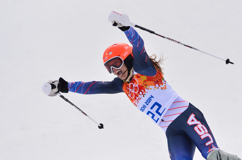 . US skier Julia Mancuso finishes the Women\'s Alpine Skiing Super Combined Slalom at the Rosa Khutor Alpine Center during the Sochi Winter Olympics on February 10, 2014.     DIMITAR DILKOFF/AFP/Getty Images