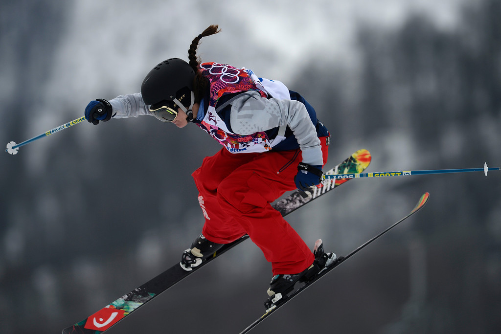 . Italy\'s Silvia Bertagna takes a jump during the women\'s freestyle skiing slopestyle final at the Rosa Khutor Extreme Park, at the 2014 Winter Olympics, Tuesday, Feb. 11, 2014, in Krasnaya Polyana, Russia. (AP Photo/Sergei Grits)