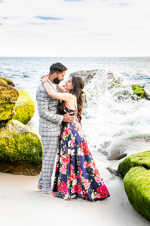 Windansea Engagement Couples Beach Photographer La Jolla - Low tide beach sunset photographs - Gurinder and Gurpreet