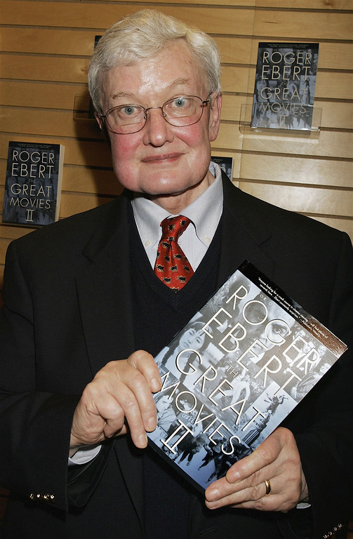""". Film critic Roger Ebert poses at the book signing for his \""""Great Movies II\"""" at Barnes & Noble Booksellers on March 7, 2006 in Santa Monica, California. (Photo by David Livingston/Getty Images)"""