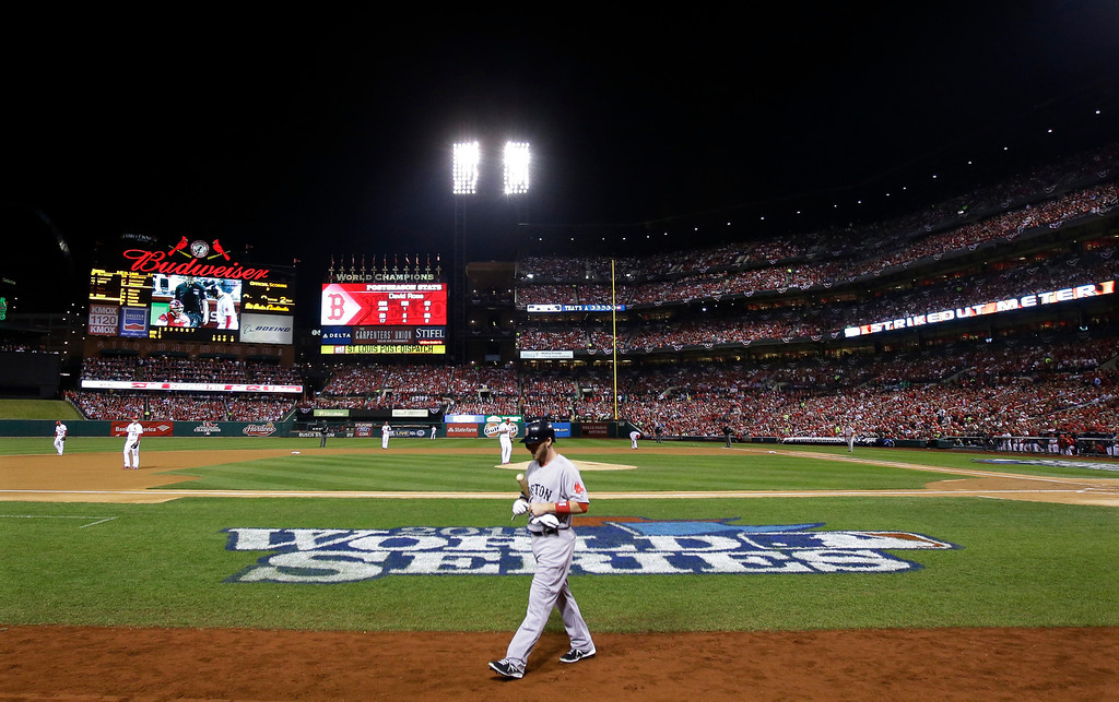 . Boston Red Sox shortstop Stephen Drew walks back to the dugout after striking out to St. Louis Cardinals starting pitcher Adam Wainwright in the second inning of Game 5 of baseball\'s World Series Monday, Oct. 28, 2013, in St. Louis. (AP Photo/Matt Slocum)